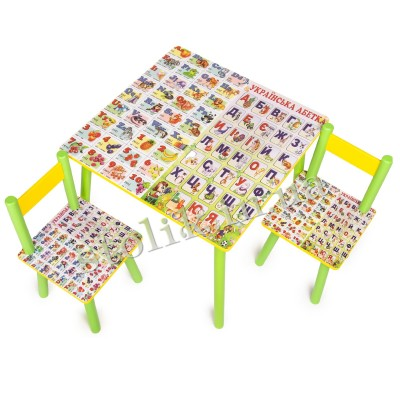 Children's table Ukr-Ang alphabet with 2 chairs B