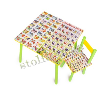 Children's table Ukr-Ang alphabet with 1 chair B