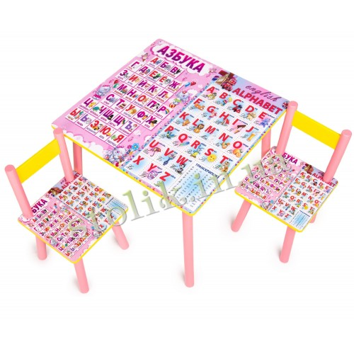 Children's table Rus-Ang alphabet with 2 chairs B
