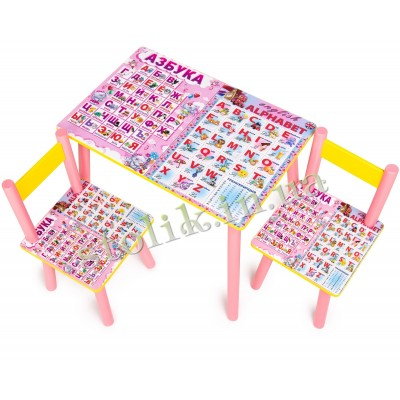 Children's table Rus-Ang alphabet with 2 chairs А
