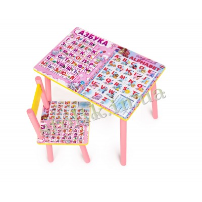 Children's table Rus-Ang alphabet with 1 chair