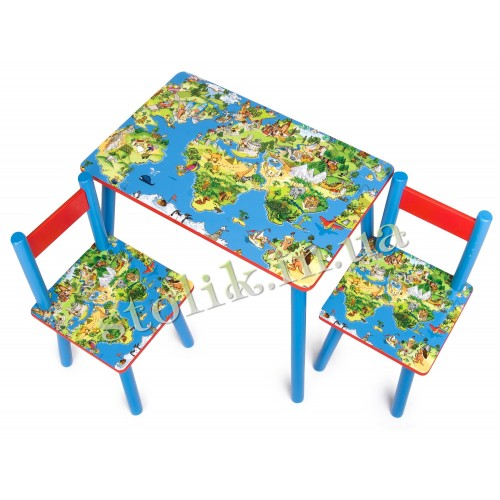Children's table World map with 2 chairs