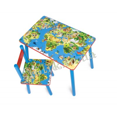 Children's table World map with 1 chair