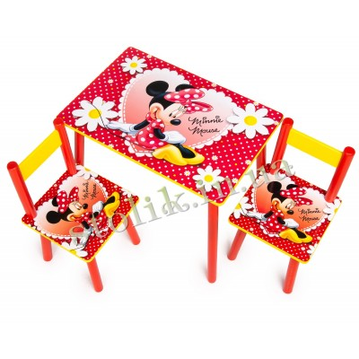 Children's table Mini Mouse with 2 chairs
